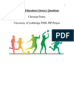 physical education literacy questions