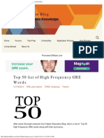 Top 50 List of High Frequency GRE Words -Higher Education Blog