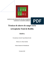 Técnicas de Ahorro de Sangre para la Artroplastia total de Rodilla