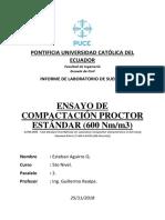 Informe de laboratorio  Compactación Próctor Estándar