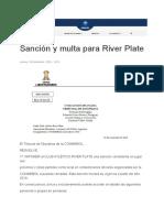 Sanción y Multa Para River Plate