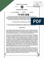 Decreto 2137 Del 19 de Noviembre de 2018