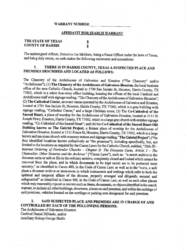 Search Warrant for Archdiocese of Houston-Galveston