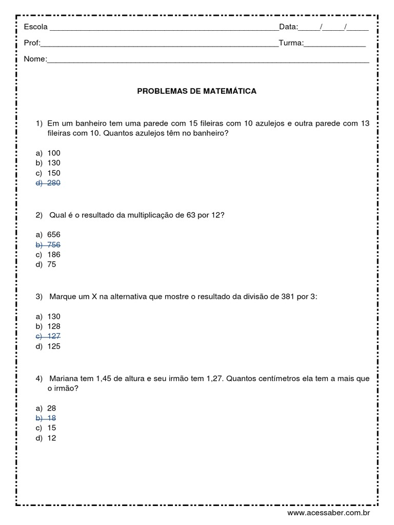 Problemas De Matematica 5 Ou 6 Ano Respostas