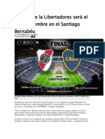 La Final de La Libertadores Será El 9 de Diciembre en El Santiago Bernabéu