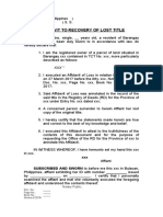 Affidavit to Recovery of Lost Title_XXX