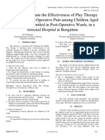 A Study to Evaluate the Effectiveness of Play Therapy in Reducing Post-Operative Pain among Children Aged 6-12 Years Admitted in Post-Operative Wards, in a Selected Hospital at Bengaluru