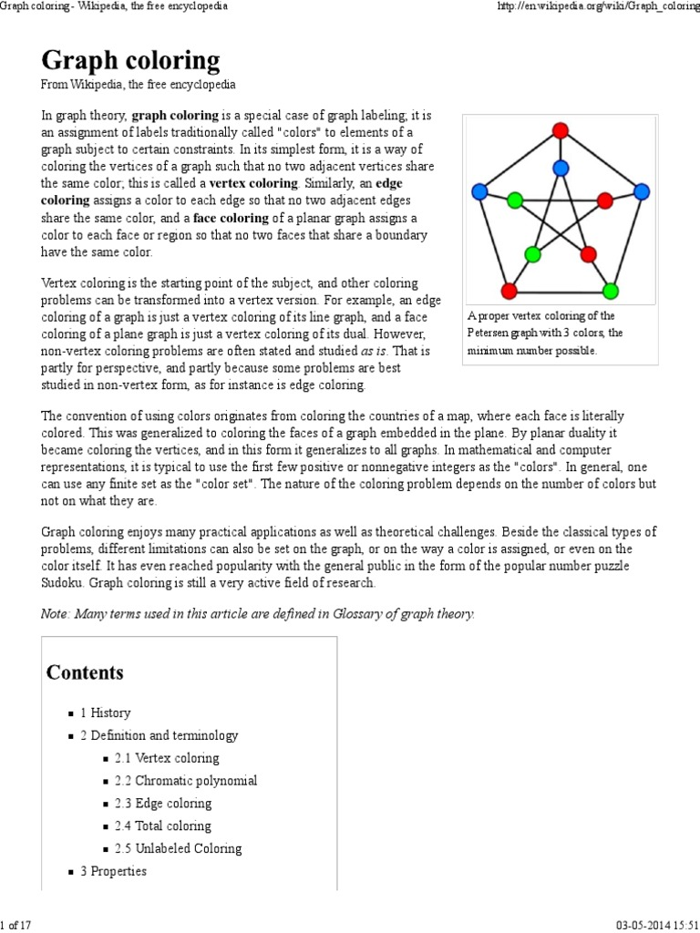 Graph Coloring Wikipedia The Free Encyclopedia Theoretical Computer Science Discrete Mathematics
