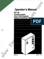 962-0113 Onan OT-III OTCx (Spec G-H) 40 to 1000 Amp Transfer Switch Operator's Manual (11-1992))