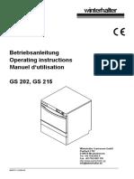 Winterhalter Glasswasher Operating Instructions Gs202 Gs215