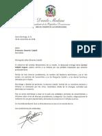 Carta de condolencias del presidente Danilo Medina a Francesco Geremia Cataldi por fallecimiento de su madre, la enóloga Carmen Cataldi Huguez