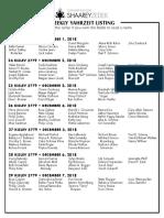 December 1, 2018 Yahrziet List