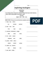 Completing Analogy Worksheet