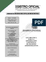 Ley Orgánica Para La Optimización y Eficiencia de Trámites Administrativos