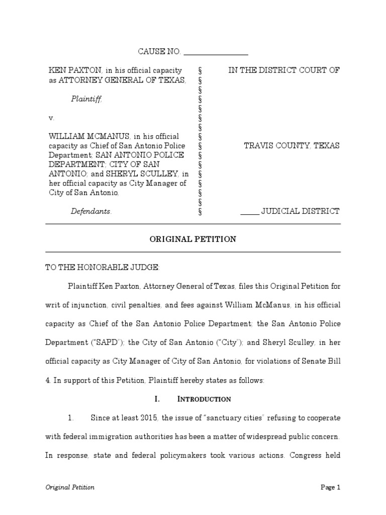 Ag Lawsuit Against City of Sa | U S  Immigration And Customs