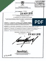 Decreto 2186 del 28 de noviembre de 2018