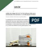 Análise Dos Artigos Da Lei Nº 13.726_2018 Que Acaba Com a Autenticação de Documentos e o Reconhecimento de Firma