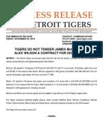 Tigers Non Tender James McCann and Alex Wilson
