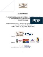 CONVOCATORIA Al IV Congreso Boliviano de Derecho Constitucional 2019