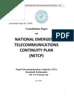 Consultation Paper 2016 NETCP