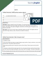 Card Games Student Worksheet