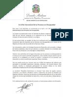 Mensaje del presidente Danilo Medina con motivo del Día Internacional de las Personas con Discapacidad