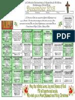 2018 December Festal Calendar