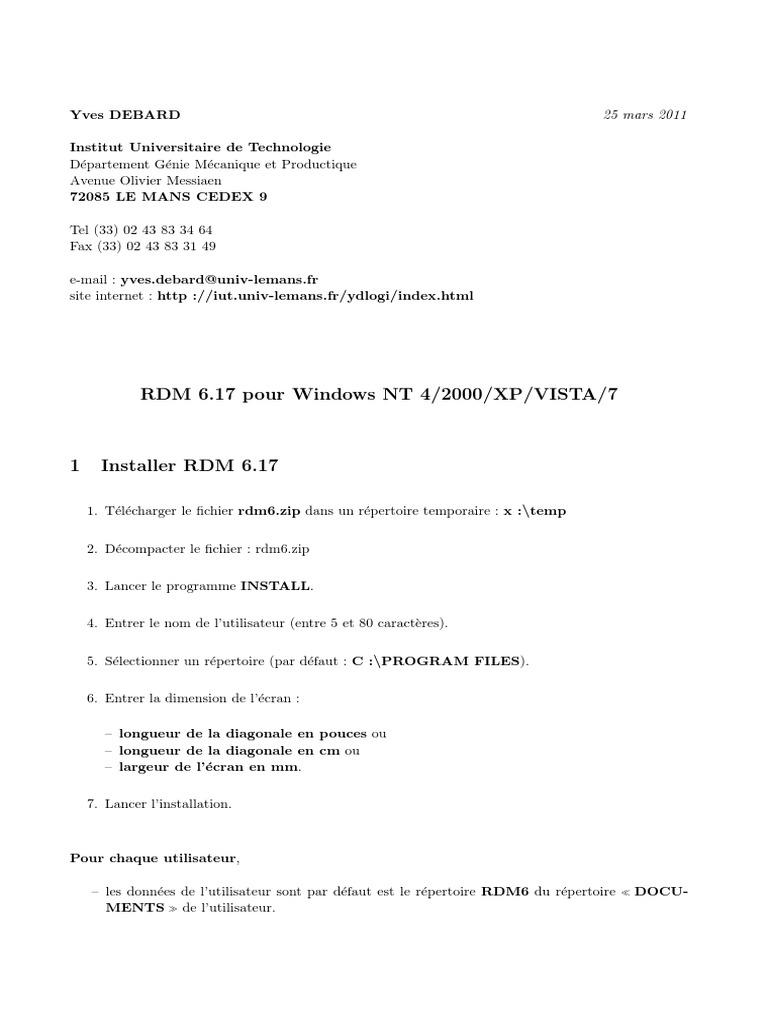 7 TÉLÉCHARGER RDM6 WINDOWS