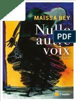 Nulle Autre Voix - Maissa Bey
