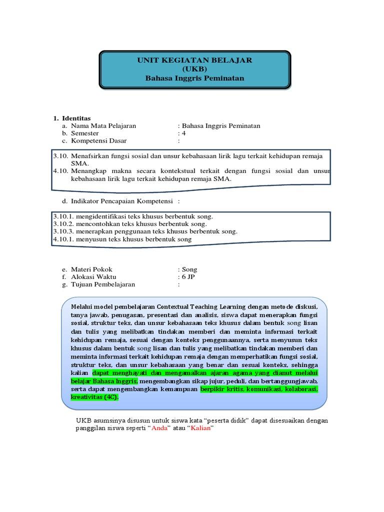Ukbm Sastra Inggris Xi Kd 3 10 4 10 Song Menahan Diri Struktur Lagu