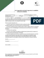 Anexa 8 Declarația Pe Proprie Răspundere Privind Respectarea Condiţiilor Minimis