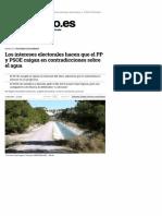 Los intereses electorales hacen que el PP y el PSOE caigan en contradicciones sobre el agua (Eldiarioes, 22-05-15)