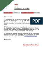 Comunicado de Tarifas SBP 001 2011