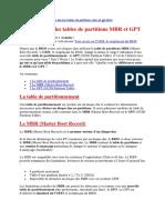 Table de Partition MBR GPT