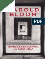 ¿Dónde Se Encuentra La Sabiduría - H. Bloom