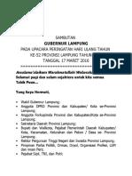 Sambutan Upacara HUT 52 Provinsi Lampung