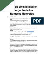 Teoría de Divisibilidad en El Conjunto de Los Números Naturales