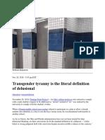 Delusional Tyranny of Transgender Movement