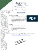 Job Advertisement CRF Boat Crew
