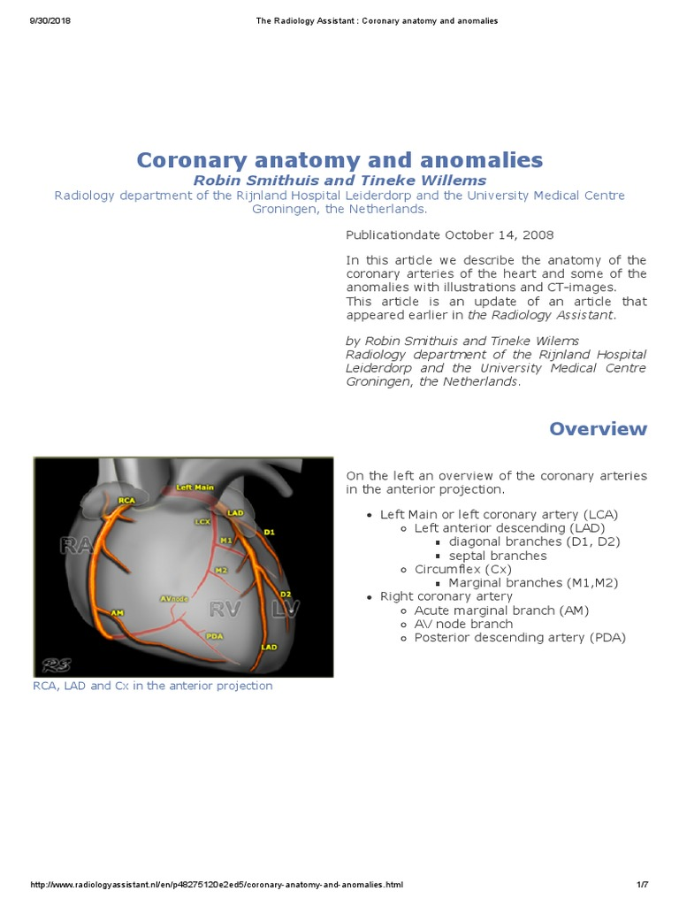 The Radiology Assistant Coronary Anatomy And Anomaliespdf
