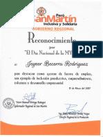 RECONOCIMIENTO POR EL DÍA  NACIONAL DE LA  MYPE - JEYNER BECERRA RODRÍGUEZ