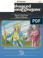 Player Character Record Sheets - 1984