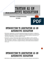 Arbitration as an Alternative Resolution