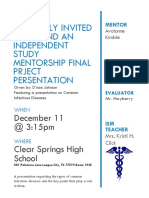 you are cordially invited to attend an independent study mentorship final prject persentation