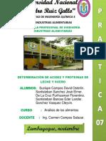 Determinacion de Acidez y Proteinas de Leche y Suero