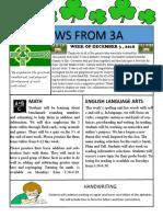 3a newsletter week of december 3 2018