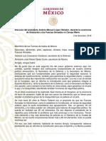 AMLO Discurso FArmadas, 02dic18