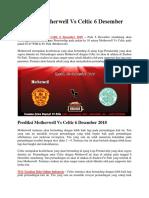 Prediksi Motherwell vs Celtic 6 Desember 2018