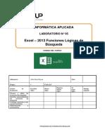 Lab 05 - Excel 2013 - Funciones de Búsqueda