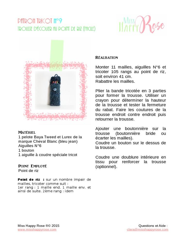 Patron Tricot N9 Trousse Facile Au Point De Riz